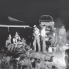 Around a Campfire Having a Late Dinner [or Breakfast at 4 a.m.] JA Ranch, Texas 1908, Gelatin dry plate negative, 5 x 7 inches