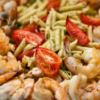 Penne Pasta with Prawns, Mushrooms, and Arugula